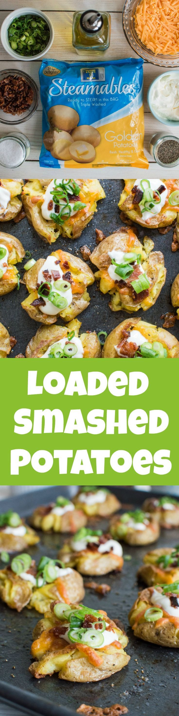 LOADED SMASHED POTATOES Loaded Smashed Potatoes — crispy smashed potatoes topped with cheddar cheese, bacon, sour cream, and scallions. A fun weeknight side dish or perfect party appetizer!