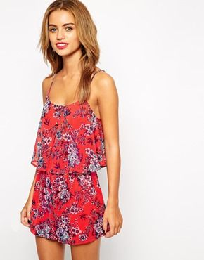 Enlarge New Look Petite Double Layer Contrast Floral Print Playsuit