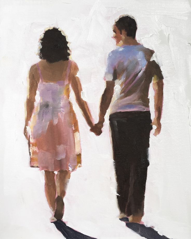 Walking Couple - Art Print - 8 x 10 inches - from original painting by J Coates by JamesCoatesFineArt on Etsy