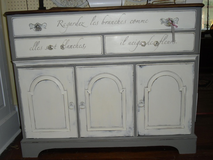 Our Springtime in Paris stencil on drawer fronts. Beautiful furniture piece by Ryan's Daughter Designs!