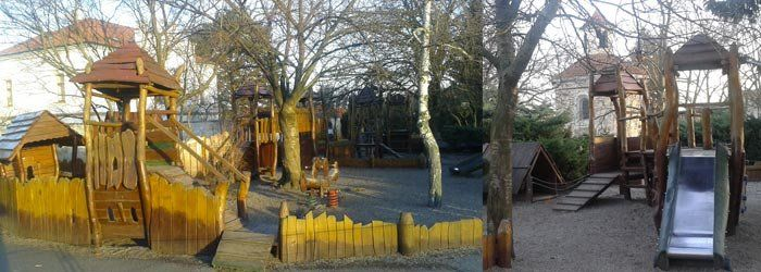 "Playground ""From the Old Czech Legends"" is in small garden on the hill against the rotunda of St. Martin. These are all designed for children 3 to 15 years. #prague#family#kids#czech#fun#familytravel"