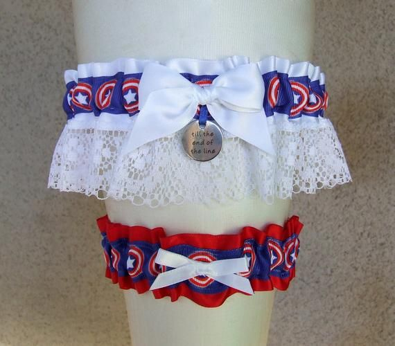 Captain America Garter Set with Till the End of the Line charm red white blue / Superhero or Comic Book Geek Wedding Bridal Shower gift