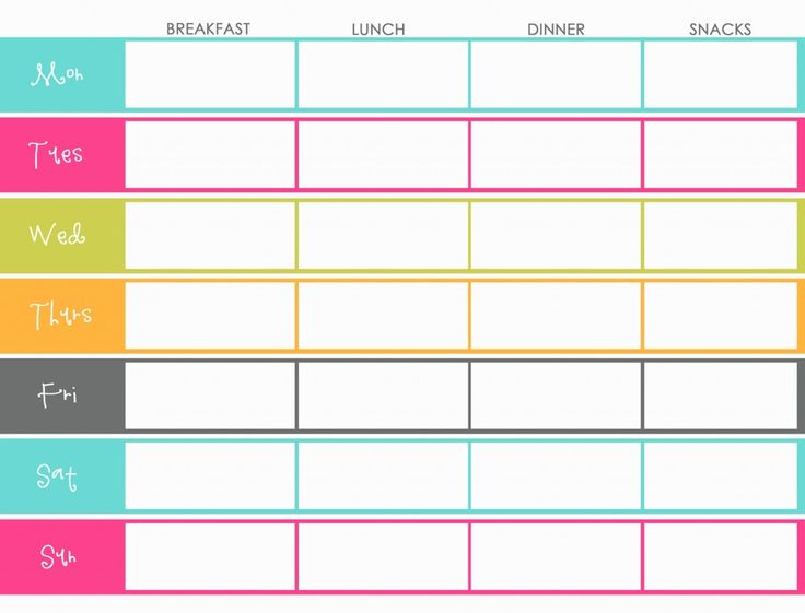 Printable weekly menu planner with nice bright colors. Also could be used as a template for a food journal, to write down EVERYTHING you eat, if you're on a weight loss plan!