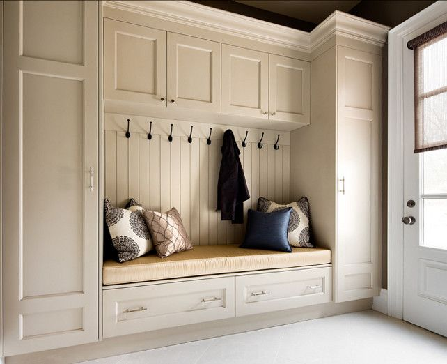 "Mudroom. Mudroom Design Ideas. Mudroom Cabinet. ""Benjamin Moore Ballet White OC-9"". #MudroomIdeas #MudroomDesign #MudroomCabinetry Designed by Jane Lockhart."