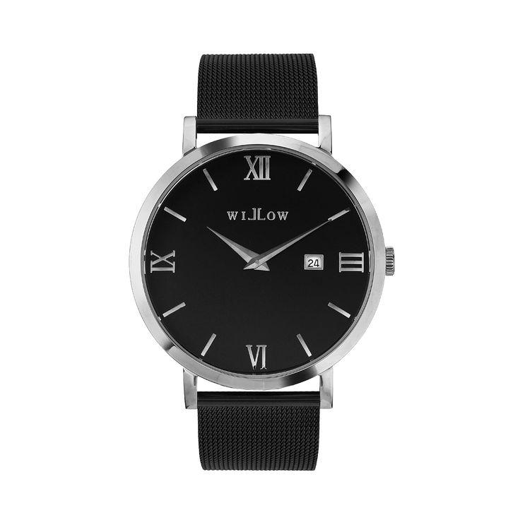 Treviso Silver Watch & Interchangeable Black Mesh Strap.