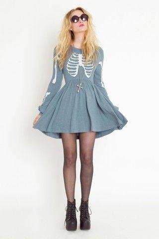 Wildfox  Skeleton Babydoll Dress adorable!