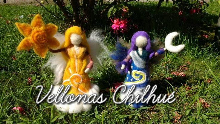 Hadas del día y la noche, muñecas en vellon agujado, hechas por VELLONAS CHILHUE