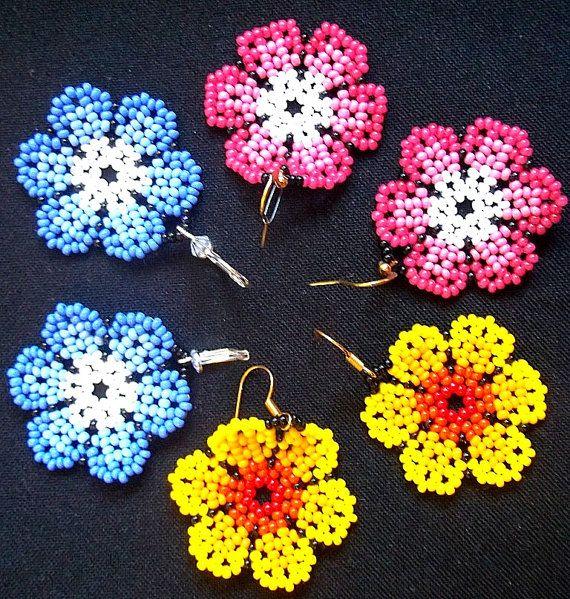 flower seed bead earrings - round colorful earrings - huichol style earrings on Etsy, $16.00