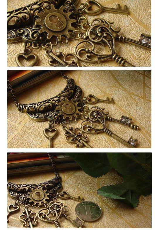 Vintage Hollow Bronze Lock Skeleton Heart Keys Pendant Retro Necklace Punk New | eBay
