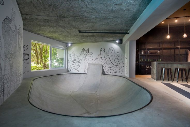 An indoor skate bowl in an urban man cave [1499×1000] Photo by Riaan West - Interior Design Ideas, Interior Decor and Designs, Home Design Inspiration, Room Design Ideas, Interior Decorating, Furniture And Accessories