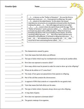 Genetics Vocabulary Worksheet - Delibertad