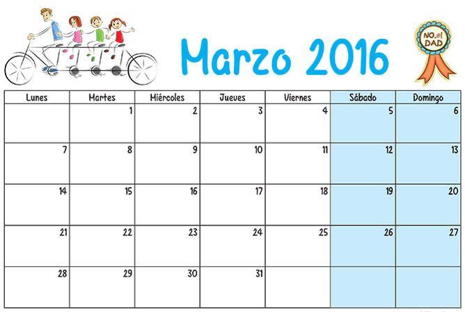 calendario de marzo 2016 para imprimir - Buscar con Google