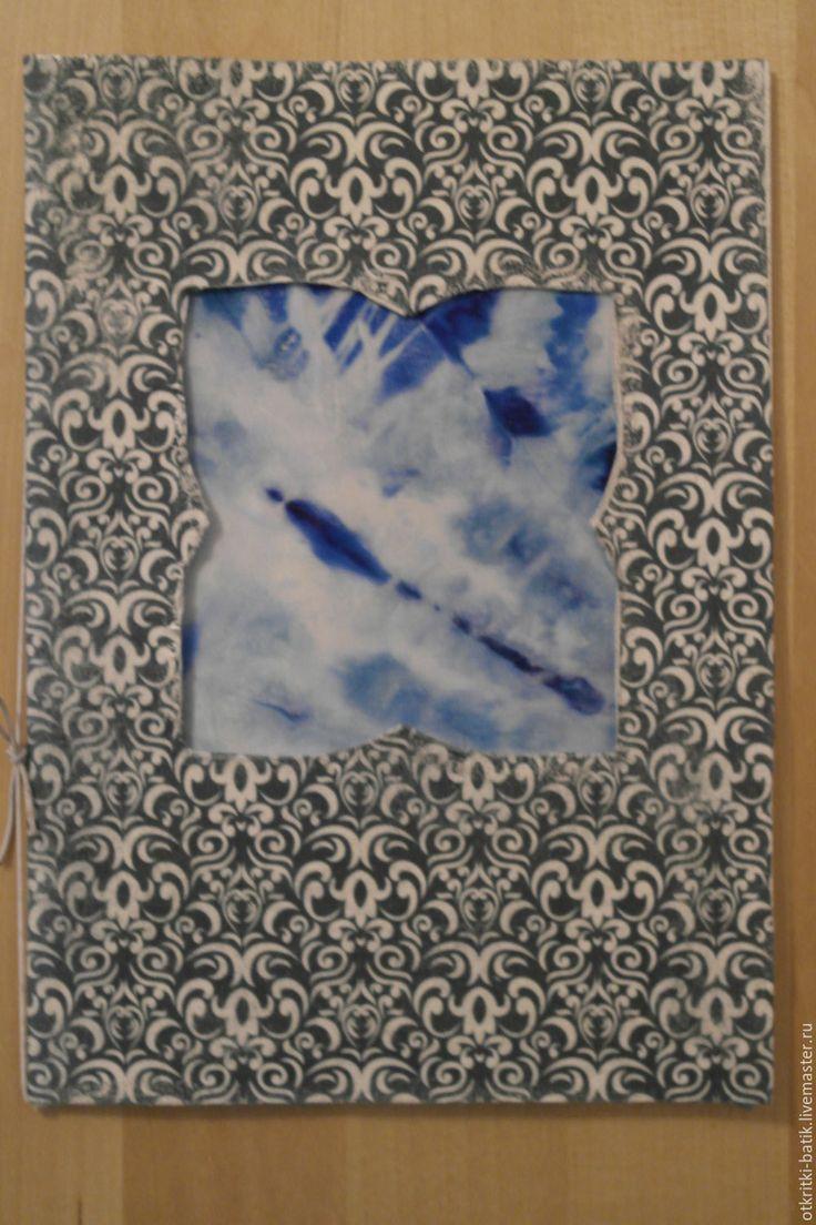 Купить Кристаллы - голубой, подарок, открытка, Открытка ручной работы, новогодняя открытка, рождественская открытка