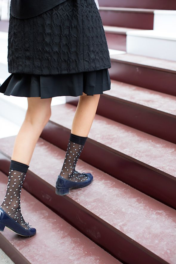 sheer polka dot socks, black and white, blue, low heels, ruffle, black, texture, details, feminine, patent leather, fall, winter, spring from: the sartorialist At Louis Vuitton, S/S 2013 RTW.
