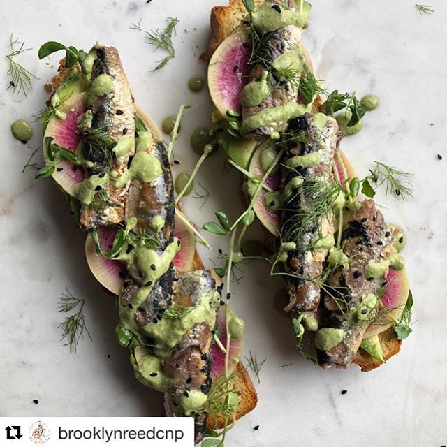 #Repost @brooklynreedcnp with @get_repost  One of my goals as a nutritionist is to change how people feel about these delicious little fish! This morning I treated myself to Sardines on Gluten Free Focaccia.  Mmmm it was so so incredibly good. Using my favourite @wildplanetfoods sardines packed in olive oil @delishglutenfree focaccia avocado watermelon radishes pea shoots and a homemade sunflower seed pesto.   I eat sardines a few times weekly either on salads on sweet potato or paleo toast…