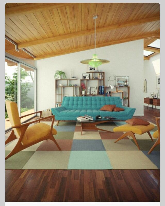 Perfect Furniture:Stylish Mid Century Living Room With Blue Sofa Feta Brown Cuhions  And Unique Brown Armchair Above Modern Brown Bold Plaid Rug And Brown Wood  ...