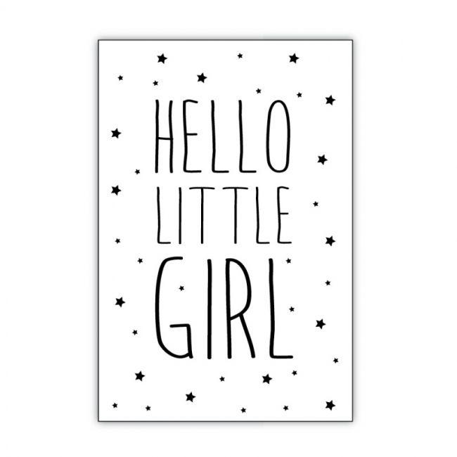 postkaart geboorte meisje tekst dots lifestyle hout -