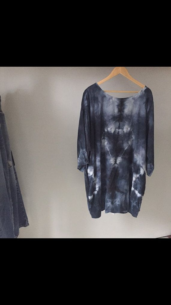 Super soft, hand-dyed shirt dress cut in a loose fitting silhouette and finished with side pockets. 100% bamboo rayon Size O/S 36long 27wide