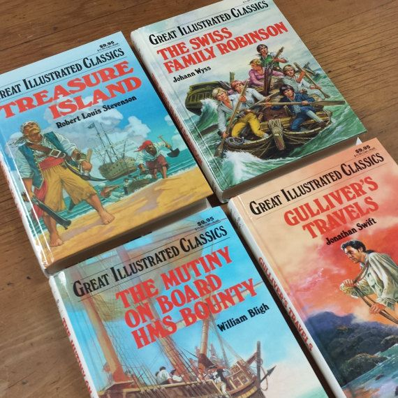 4 Book Set Great Illustrated Classics by Baronet Books  Island, Shipwreck, High Sea Adventure Stories:  *Swiss Family Robinson by Johann Wyss, 1990 *Gullivers Travels by Jonathan Swift, 1995 *The Mutiny On Board HMS Bounty by William Bligh, 1992 *Treasure Island by Robert Louis Stevenson, 1989  The only notable flaw is that Gullivers Travels and The Mutiny have a penciled number on first blank page. Otherwise these books are in next to new condition.