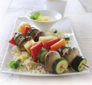 Barbecued haloumi and vegetable kebabs | Healthy Food Guide