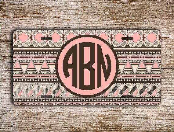 Monogrammed license plate personalized car tag  by PreppyCentral, $16.99 - #personalizedgift #etsy #monogram