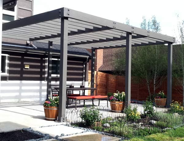 Arbor, pergolas, and shade structures can be designed and installed in many ways. Here a clean modern look was used to work with the architecture of the home. A year later we added low voltage lighting and bright orange sunbrella curtains to round out this project.