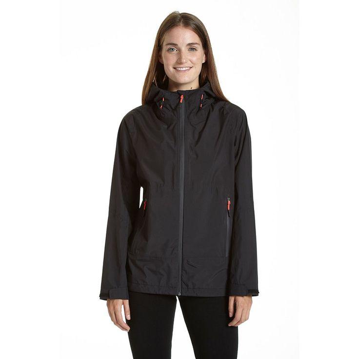Women's Champion Hooded Waterproof Rain Jacket, Size: Medium, Black