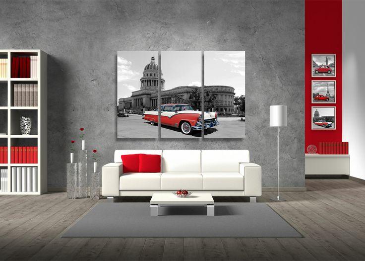 Quadro Cadillac Cuba, prodotto stampato in digitale ad alta definizione su tela, rifinita con telaio in legno.