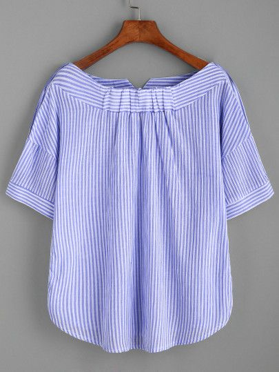 Boat Neckline Striped Blouse With Buttons -SheIn(Sheinside)