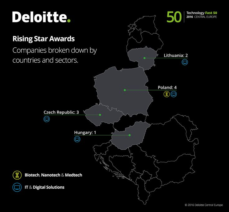 Rising Star Awards. Companies broken down by countries and sectors. #Fast50 #Deloitte #Technology #Tech #CE #centraleurope
