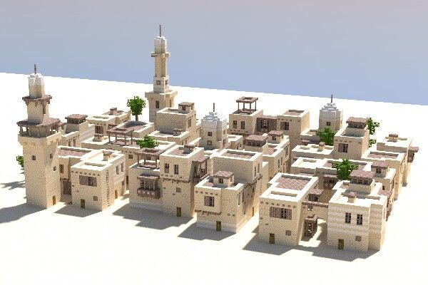 Does anyone know the creator/origin of this build? I really want to credit the person/person who made this beautiful build| Minecraft Desert Town | Minecraft | building | sand | desert