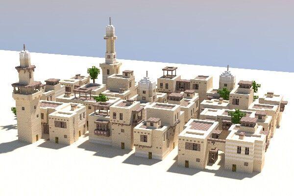 By lapsefractal | https://lapsefractal.tumblr.com/ | Minecraft Dessert City | Minecraft | building | sand | desert