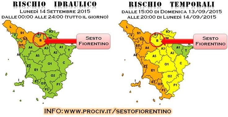 Il Sistema Regionale di Protezione Civile, viste le previsioni meteo e gli sviluppi attuali ha emesso per l'area B in cui ricade anche il Comune di Sesto F.no una #allertameteoTOS: - codice GIALLO per Rischio Temporali, dalle 15:00 di oggi (domenica 13/09/2015) alle 20:00 di domani (lunedì 14/09/2015) - codice ARANCIO per Rischio Idraulico, per tutto il giorno di domani, lunedì 14/09/2015.  Tutti i dettagli sul sito della Protezione Civile comunale di Sesto F.no…