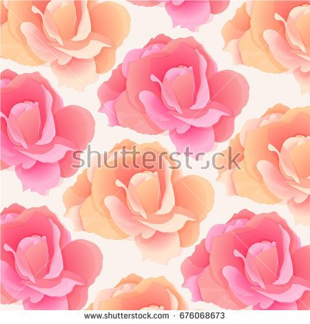 Pattern in pastel colors with pink roses