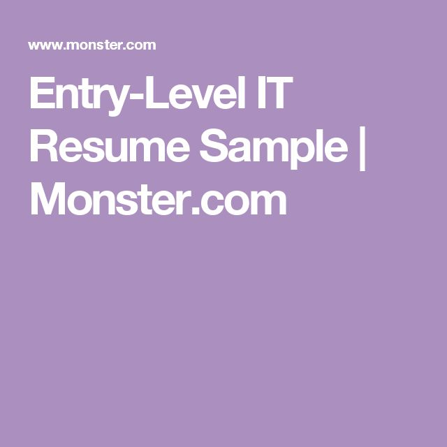 Entry-Level IT Resume Sample | Monster.com