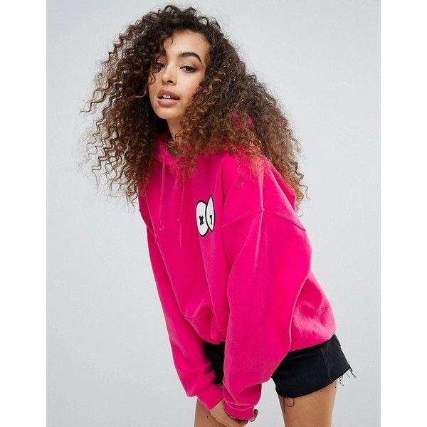 New Love Club Eyes Oversize Hoody (£32) ❤ liked on Polyvore featuring tops, hoodies, pink, embroidered hoodie, pink hooded sweatshirt, pink hoodies, comic book and pink top