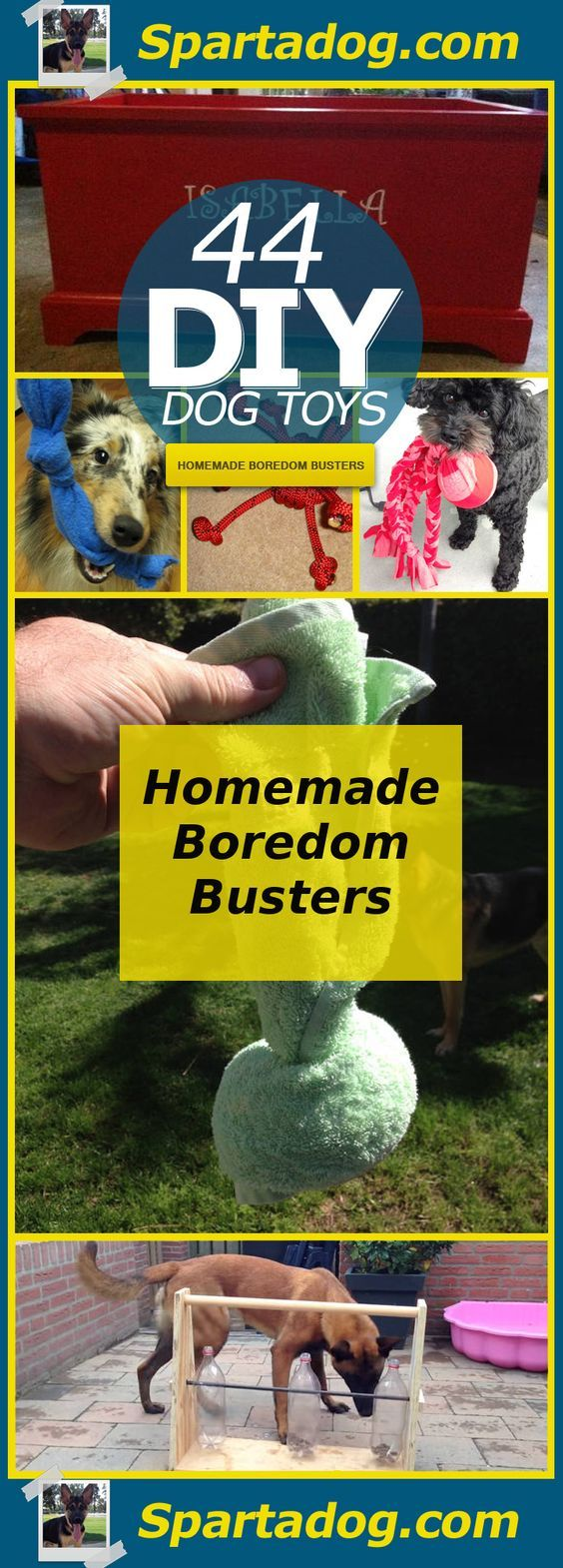 44 Really Cool Homemade DIY Dog Toys Your Dog Will Love at Spartadog.com:                                                                                                                                                                                 More