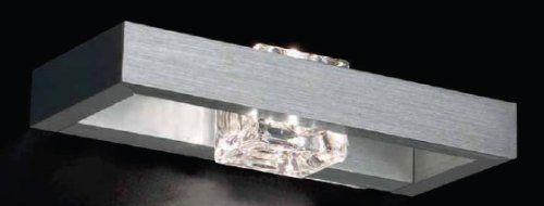 Crystal applique in alluminio spazzolato con vetro cm 22: Amazon.it: Casa e cucina