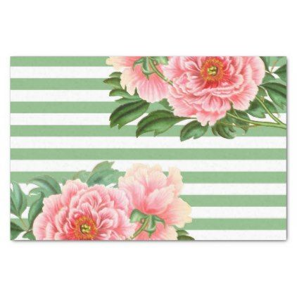 Pink Peonies Green Stripes Tissue Paper - romantic gifts ideas love beautiful