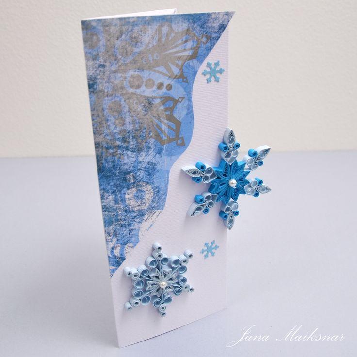 Quillingová přání, výrobky, vločky s vánočním motivem.