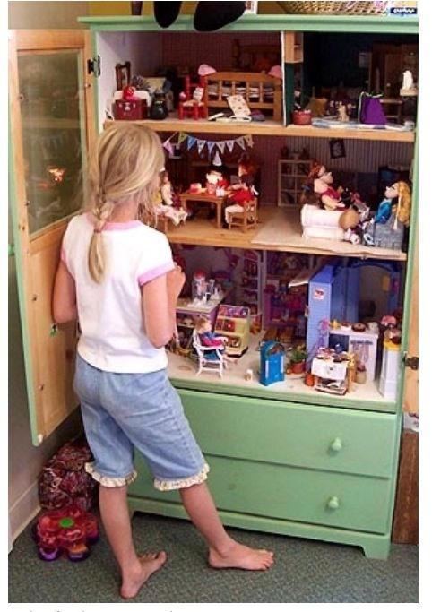 Doll House made from an old chest of draws.