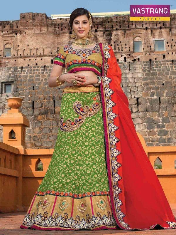 Green and red designer lehenga choli