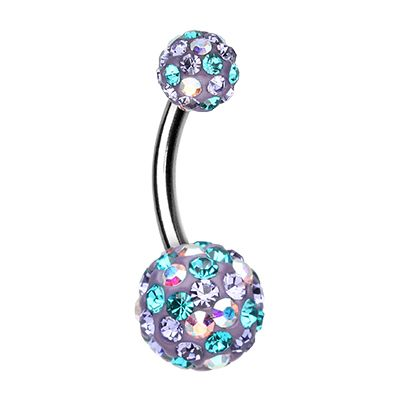 Lilac Retro Mozaic Belly Bar - Multi Paved Retro Belly Button Ring. Find it at www.tummytoys.com.au