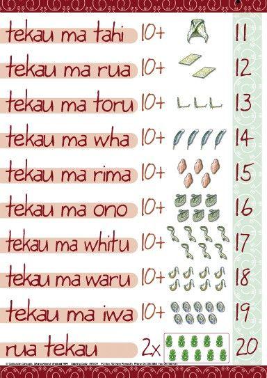 Numbers 11-20 Maori Chart | Te Reo Maori Resources