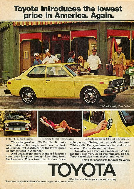 1975 Toyota Corolla add.....I miss mine....it was the car I learned how to drive stick with.