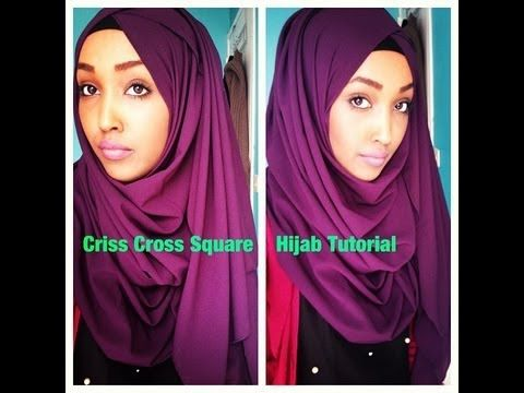 Criss Cross Square Hijab Tutorial - YouTube