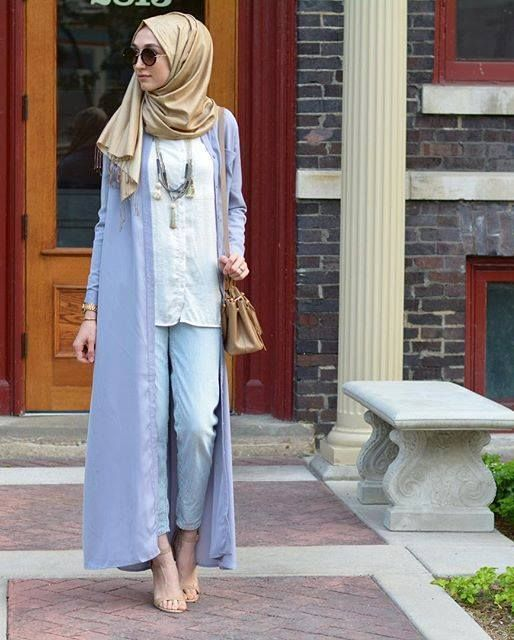 long kimono cardigan look, Modest street hijab fashion…