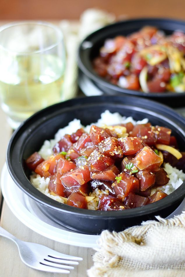 Soy sauce ahi poke bowl recipe ahi poke on and poke for Hawaiian fish recipes