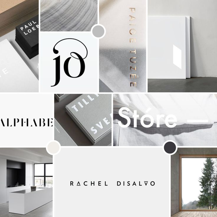 Mood Board. Grey, white and minimal with architectural references.