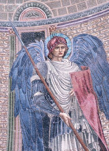 "This image is of the archangel Michael from the Apse Mosaic of San Paolo fuori le Mura (Basilica of Saint Paul Outside the Walls).    ""According to Catholic legend, in the year 492 a  rich Italian named Gargan, who fed his cattle upon a hill known after  him as Mount Gargano (now Monte Sant' Angelo), missed one of his bulls.  It was found in a cavern wounded by an arrow. When one sought to remove  this arrow, straightway it"